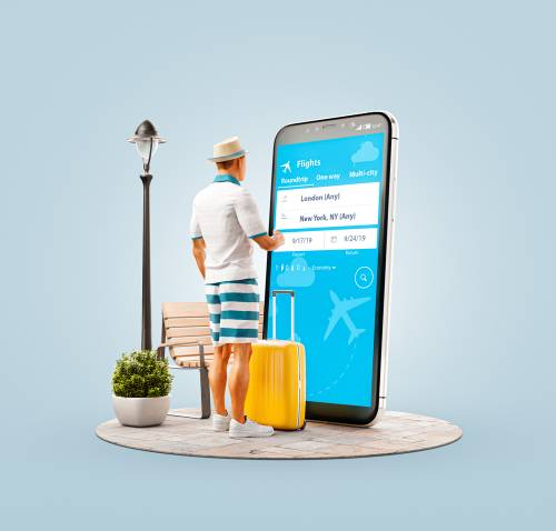 Unusual 3d illustration of a young man standing in front of smartphone a